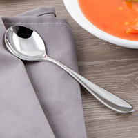 Reed & Barton RB119-016 Holliston 6 1/8 inch 18/10 Stainless Steel Extra Heavy Weight Bouillon Spoon - 12/Case