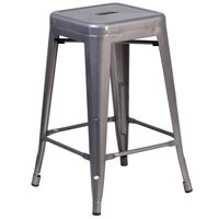 Flash Furniture XU-DG-TP0004-24-GG Clear Coated Stackable Metal Counter Height Stool with Drain Hole Seat