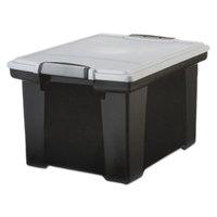 Storex 61543U01C Black Plastic Portable Letter / Legal File Storage Box with Locking Handles - 18 1/2 inch x 14 1/4 inch x 10 7/8 inch