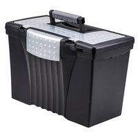 Storex 61510U01C Black Plastic Portable Letter / Legal File Storage Box with Organizer Lid - 14 1/2 inch x 10 1/2 inch x 12 inch