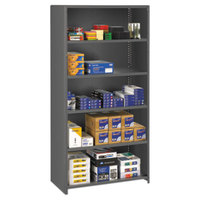 Tennsco ESPC61836MGY Medium Gray 5 Shelf Closed Commercial Steel Shelving - 36 inch x 18 inch x 75 inch
