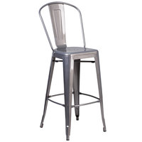 Flash Furniture XU-DG-TP001B-30-GG Clear Coated Metal Bar Height Stool with Vertical Slat Back and Drain Hole Seat