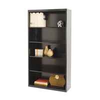 Tennsco B66BK Black 5 Shelf Metal Bookcase - 34 1/2 inch x 13 1/2 inch x 66 inch