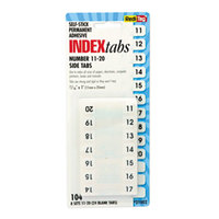 Redi-Tag 31002 1 inch White Numbers 11-20 Side-Mount Plastic Index Tabs - 104/Pack