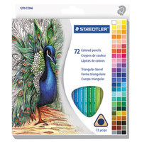 Staedtler 1270C72A6 72-Color Assorted H Lead #3 Triangular Colored Pencil Set