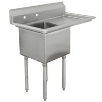 Advance Tabco FCV1-1620-18R Fabricated One Compartment Sink with Right Drainboard - 36 1/2 inch
