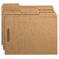 Smead 14837 8 1/2 inch x 11 inch Brown 1/3 Cut Top Tab Kraft Folder with Two Fasteners - Letter - 50/Box