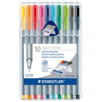 Staedtler 334SB10A6 Triplus Fineliner 10-Color Assorted Super Fine Water-Based Marker