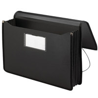Smead 71510 Legal Size Poly Expansion Wallet - 5 1/4 inch Expansion with Flap and Cord Closure, Black
