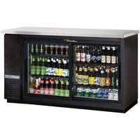 True TBB-24-60G-SD-HC-LD 61 inch Sliding Glass Door Narrow Back Bar Refrigerator with LED Lighting