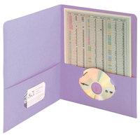 Smead 87865 Letter Size Heavyweight Textured 2-Pocket Paper Pocket Folder, Lavender - 25/Box