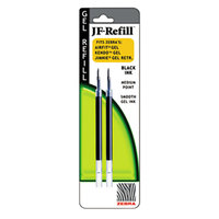Zebra 87012 JF Black Ink Medium 0.7mm Point Roller Ball Retractable Gel Pen Refill - 2/Pack