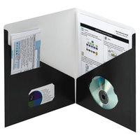Smead 87990 Contemporary Letter Size 2-Pocket Paper Pocket Folder, Black - 25/Box