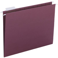 Smead 64073 Letter Size Hanging File Folder - 1/5 Cut Repositionable Poly Tab, Maroon - 25/Box