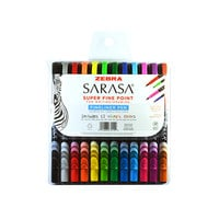 Zebra 67012 Sarasa Assorted Ink with Assorted Barrel 0.8mm Porous Point Stick Pen - 12/Set