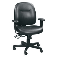 Eurotech LM59802A-BLACK 4X4 LE Series Black Leather Mid Back Multifunction Swivel Office Chair