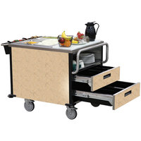 Lakeside 6755 SuzyQ Sand Stone Dining Room Meal Serving System with Two Heated Wells - 208V