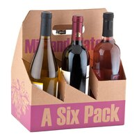 6 Pack Cardboard Wine Bottle Carrier - 10/Pack
