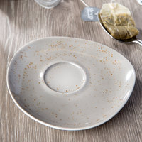 Schonwald 938691863043 Pottery 6 1/8 inch Unique Light Gray Porcelain Saucer - 12/Case