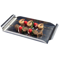Clipper Mill by GET SST-19 18 inch x 12 inch Brushed Finish Stainless Steel Rectangular Tray with Curved Handles
