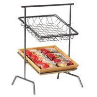 GET IR-910T POP 17 inch x 12 inch Gray Powder Coated Iron Square 2-Tier Tilted Riser with Gun Metal Finish