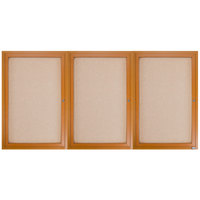 Aarco OBC3672-3R 36 inch x 72 inch Enclosed Indoor Hinged Locking 3 Door Bulletin Board with Natural Oak Frame