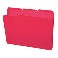 Smead 10501 Waterproof Poly Letter Size File Folder - Standard Height with 1/3 Cut Assorted Tab, Red - 24/Box