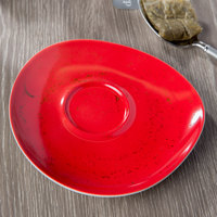 Schonwald 938691863046 Pottery 6 1/8 inch Unique Red Porcelain Saucer - 12/Case