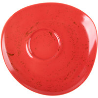 Schonwald 938691863046 Pottery 6 1/8 inch Unique Red Porcelain Saucer - 12/Case