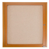 Aarco OBC3636R 36 inch x 36 inch Enclosed Indoor Hinged Locking 1 Door Bulletin Board with Natural Oak Frame