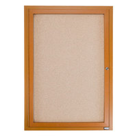 Aarco OBC2418R 24 inch x 18 inch Enclosed Indoor Hinged Locking 1 Door Bulletin Board with Natural Oak Frame