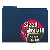 Smead 10279 Letter Size File Folder - Interior Height with 1/3 Cut Assorted Tab, Navy - 100/Box