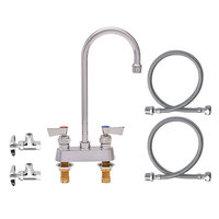 Fisher 81159 Deck Mounted Faucet with 4 inch Centers, 6 inch Swivel Gooseneck Nozzle, 2.2 GPM Aerator, Lever Handles, Angle Stops, and Supply Lines