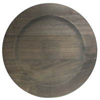 The Jay Companies 1330475 13 inch Round Gray Paulownia Wood Charger Plate