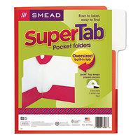 Smead 87966 SuperTab Lockit Letter Size 2-Pocket Laminated Pocket Folder - 1/3 Cut Top Tab, Red - 5/Pack