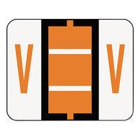 Smead 67092 1 1/4 inch x 1 inch Alpha-Z Color-Coded Dark Orange Letter V Name Filing Label - 500/Roll