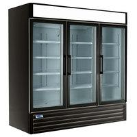 Nor-Lake NLGR70H-B AdvantEDGE 78 inch Black Swing Glass Door Refrigerated Merchandiser with LED Lighting - 70 Cu. Ft.