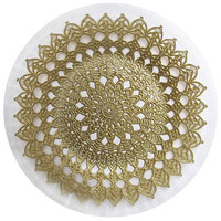 The Jay Companies 1470441 13 inch Clear and Gold Emma Glass Charger Plate