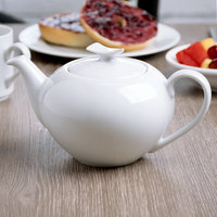 Schonwald 9134550 Fine Dining 15 oz. Continental White Porcelain Teapot with Lid - 6/Case