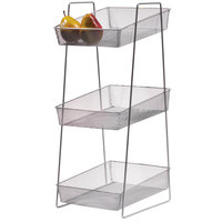 Clipper Mill by GET WB-3TIER POP 13 inch x 10 inch Silver Chrome Plated Iron Mesh 3-Tier Wire Basket Stand