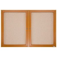 Aarco OBC4872R 48 inch x 72 inch Enclosed Indoor Hinged Locking 2 Door Bulletin Board with Natural Oak Frame