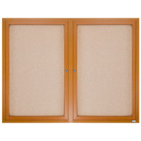 Aarco OBC4860R 48 inch x 60 inch Enclosed Indoor Hinged Locking 2 Door Bulletin Board with Natural Oak Frame