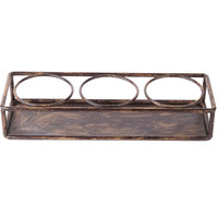 Clipper Mill by GET IR-803 Cabo 14 1/4 inch x 4 3/4 inch Powder Coated Iron Rectangular 3-Ring Condiment Stand