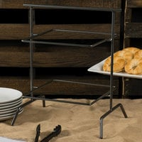 Clipper Mill by GET IR-908 POP Gray 17 inch x 12 inch Iron Powder Coated Square 2 Tier Riser