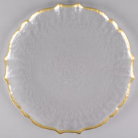 The Jay Companies 1470437 13 inch Clear Ice Queen Glass Charger Plate with Gold Trim
