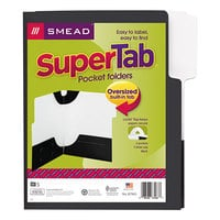 Smead 87963 SuperTab Lockit Letter Size 2-Pocket Laminated Pocket Folder - 1/3 Cut Top Tab, Black - 5/Pack