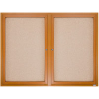 Aarco OBC3648R 36 inch x 48 inch Enclosed Indoor Hinged Locking 2 Door Bulletin Board with Natural Oak Frame
