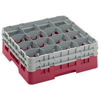 Cambro 16S534416 Camrack 6 1/8 inch High Customizable Cranberry 16 Compartment Glass Rack