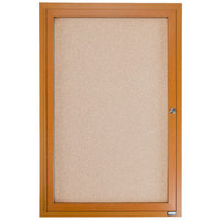 Aarco OBC3624R 36 inch x 24 inch Enclosed Indoor Hinged Locking 1 Door Bulletin Board with Natural Oak Frame