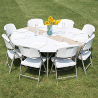 lancaster table u0026 seating 72 inch round heavy duty white granite plastic folding table - 6 Foot Folding Table